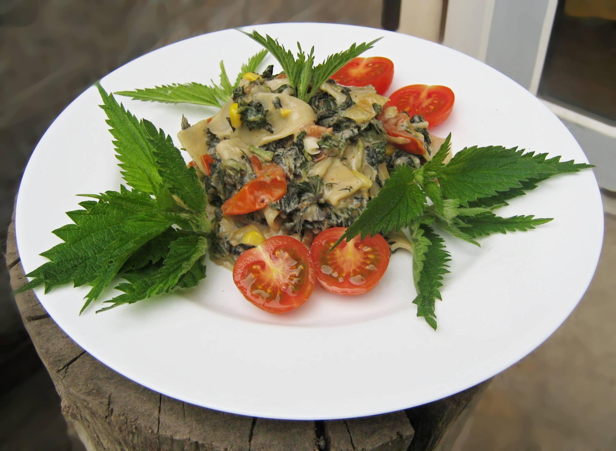 Domácí těstoviny s kopřivovým špenátem