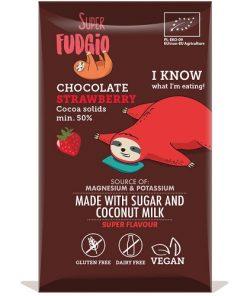 cokolada jahodova cokoláda jahodova bio super fudgio bez lepku bezlepkove bezlepkova superfudgio jahoda cokoladova vegan cokolada s jahodami kokosovy cukr vegan obchod veganobchod vegan felicity veganfelicity kokos kokosove mleko veganska