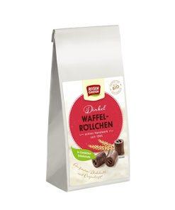 Rosengarten Dinkel Waffel Rollchen Špaldové ruličky v hořké čokoládě.
