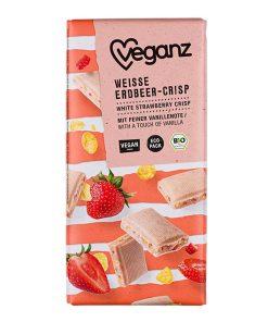 Veganz Čokoláda Bílá Jahodová BIO 80 g